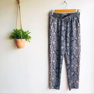 Loungewear Snake Print Drawstring Pants